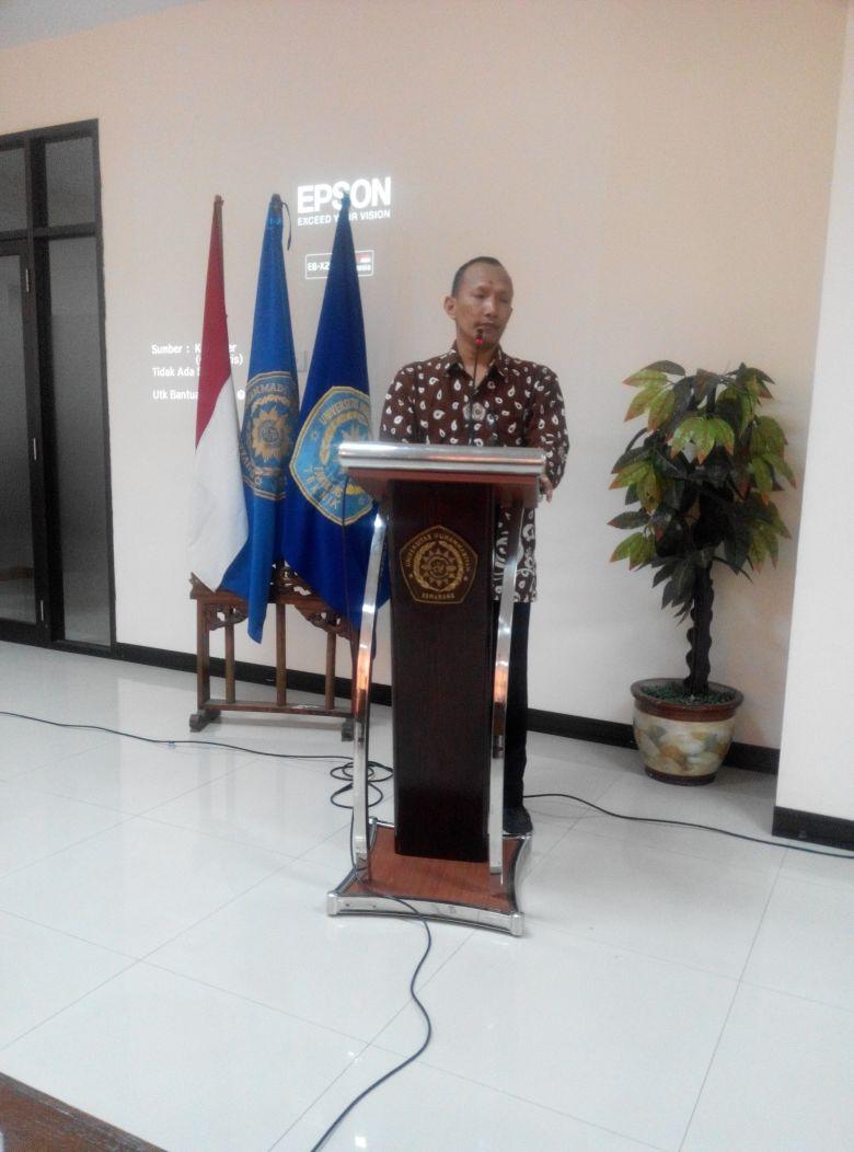 Pembukaan Seminar BEM FT Oleh Kaprodi Teknik Mesin Bpk. Dr.Purnomo