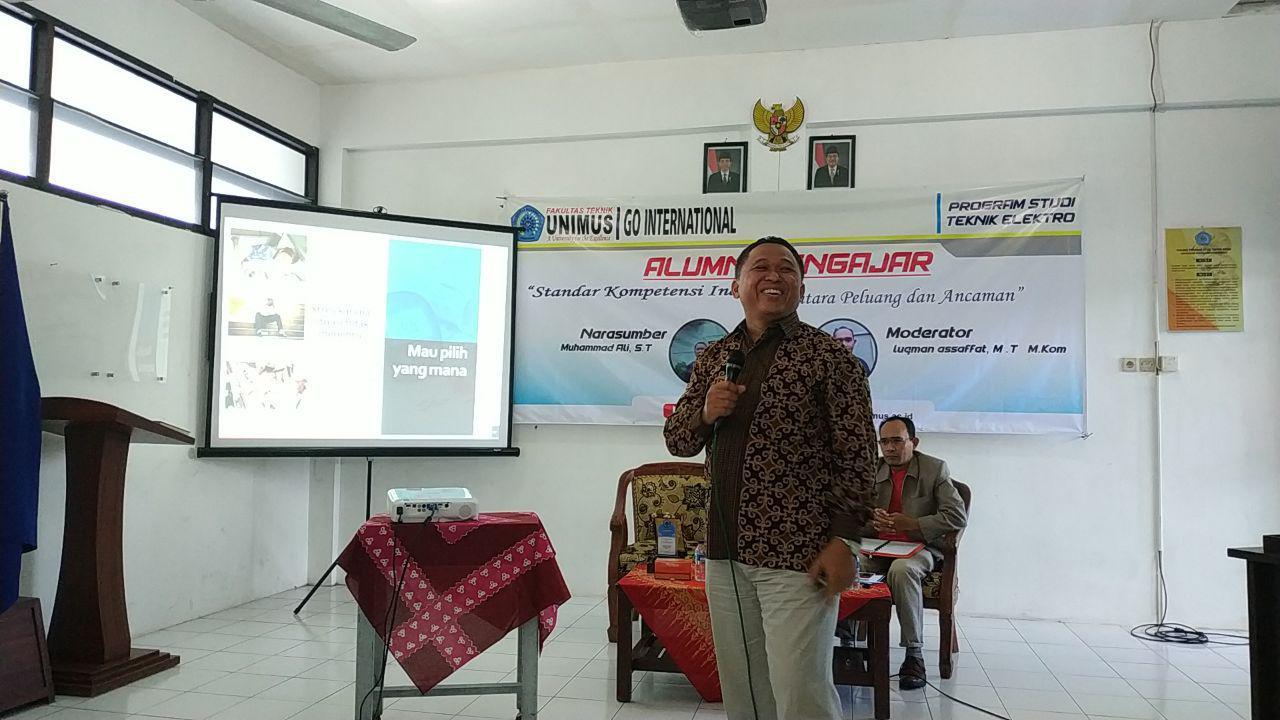 Paparan dari Pembicara Kuliah Alumni Mengajar Teknik Elektro FT Unimus , Bapak Muhammad Ali, S.T