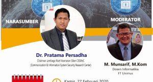 Seminar Nasional Cyber Crime Fakultas Teknik Universitas Muhammadiyah Semarang 2020.